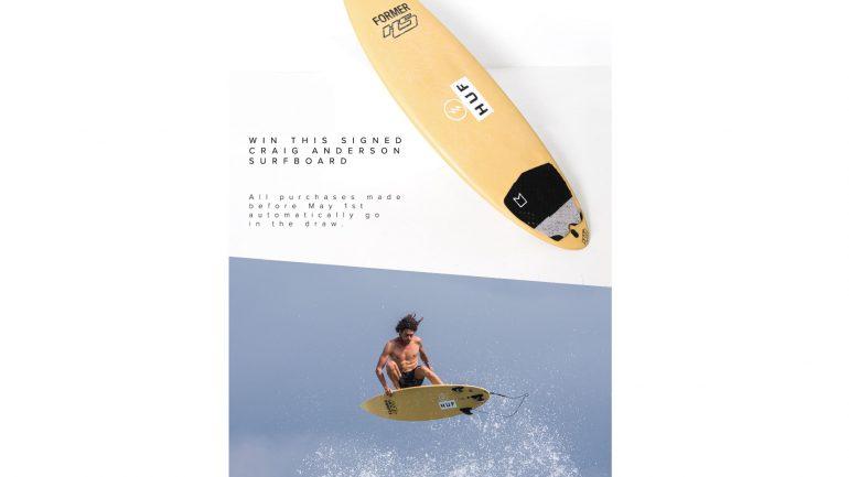 signiertes craig anderson surfbrett von haydenshapes surfboards gewinnen