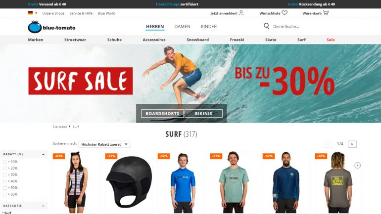 blue tomato surfer sale mit rabatten von 50 prozent billiger und mehr