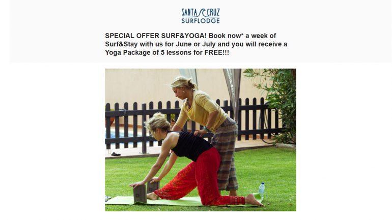 gratis yoga-stunden wenn du deinen nächsten surftrip in der santa cruz surflodge buchst