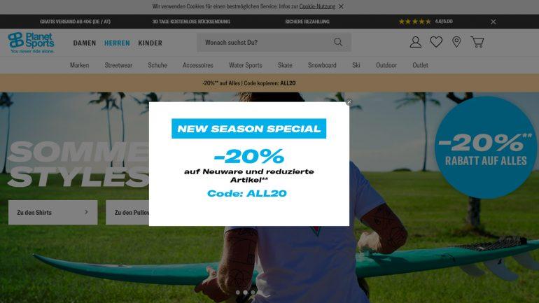 new season special sale bei planet sports mit 20 % auf alle neuen Surfer Artikel
