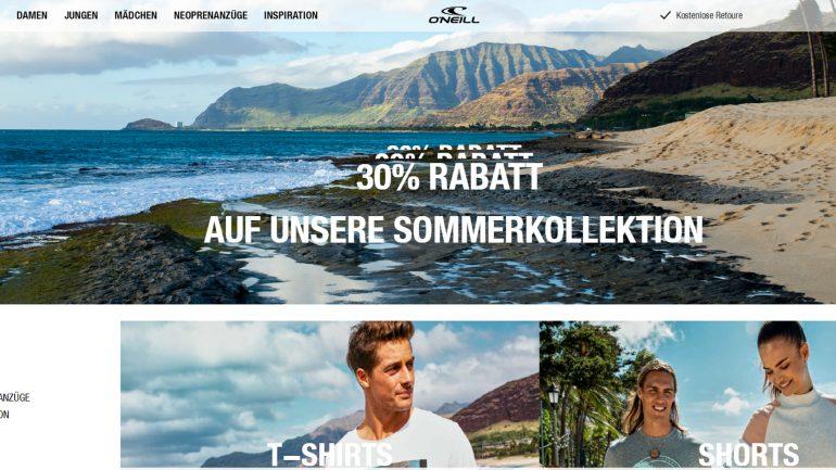 ausverkauf der neuen sommerkollektion von Oneill  2019 mit 30 % rabatt