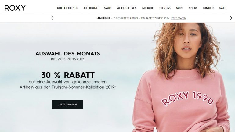 roxy ausverkauf für surferinnen auf die neue kollektion 2019 mit 30 % rabatt