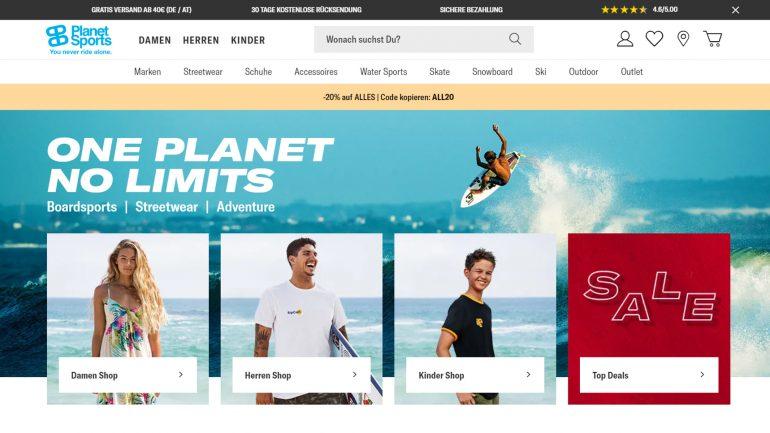 mit code all20 bei planet sports um 20 % billiger einkaufen im juni 2019