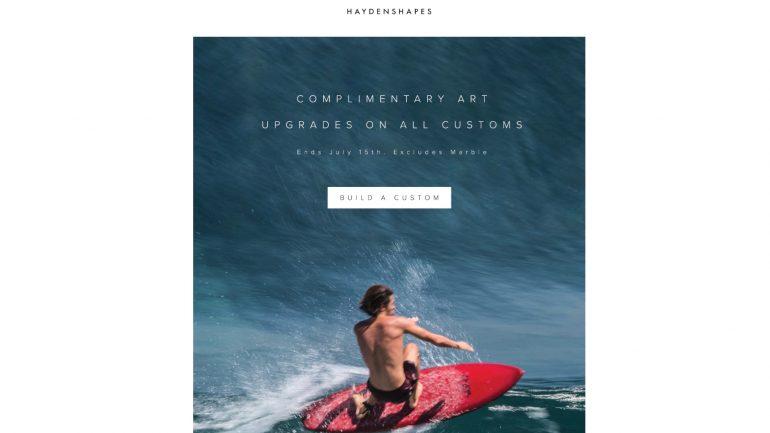 haydenshapes aktion fuer geshapte Surfbretter - designs ohne aufpreis