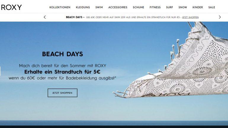roxy bietet dir ein strandtuch für lediglich 5 € wenn du um 60 € einkaufst