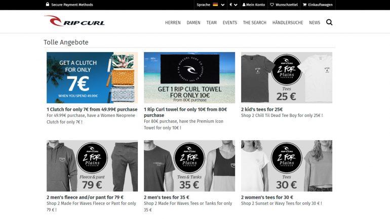 6 billigere angebote für surfer im ripcurl online shop juni 2019