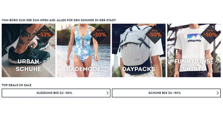 verschiedene Aktionen im Sale bei Sportscheck 2019 für Surfer und andere Sportler
